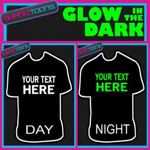 PERSONALISED GLOW IN THE DARK TSHIRT CHRISTMAS GIFT HOLIDAY OWN DESIGN